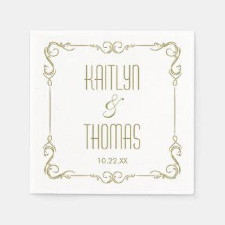 Modern Typography Gold Frame Wedding Paper Napkin