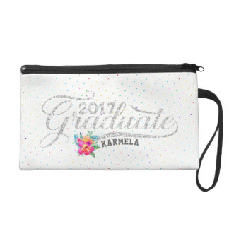 Modern Typography Graduate Colorful Dots Wristlet Purse