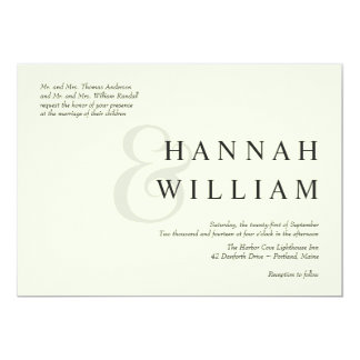 Modern Typography Ivory Wedding Invitations