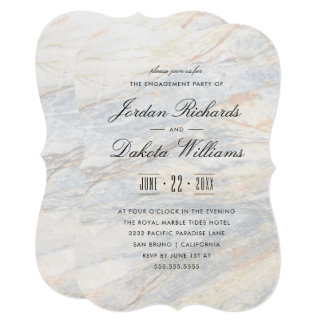 Modern Typography & Marble Engagement Party Card