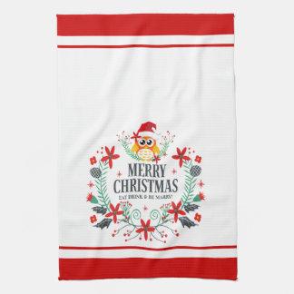 Modern Typography Merry Christmas Christmas Owl Tea Towel