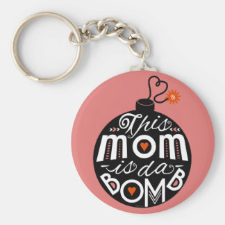 Modern Typography Mothers Day Cute Mom da Bomb Basic Round Button Key Ring
