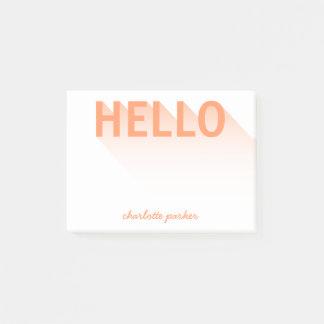 Modern Typography Orange Hello Post-it Notes