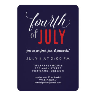 Modern Typography Patriotic 4th of July Party 13 Cm X 18 Cm Invitation Card