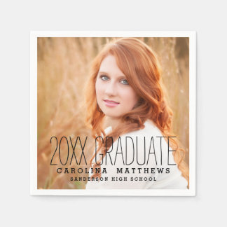 Modern Typography Photo Graduation Party Paper Napkins