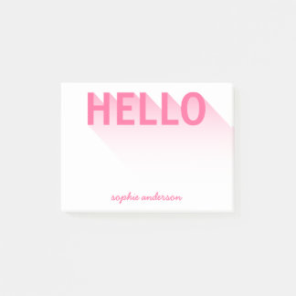 Modern Typography Pink Hello Post-it Notes