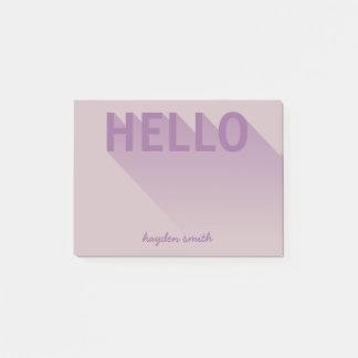Modern Typography Purple Hello Post-it Notes