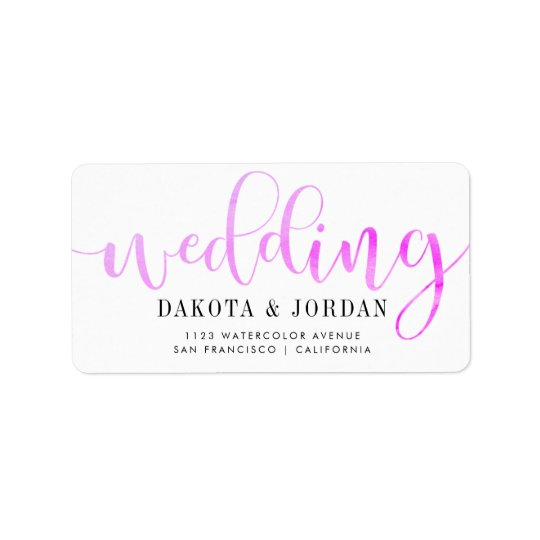 Modern Typography | Purple Watercolor Wedding Address Label