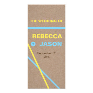 Modern typography & stripes wedding program rack card