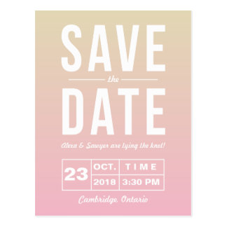 Modern Typography Sunset Ombre Save the Date Postcard