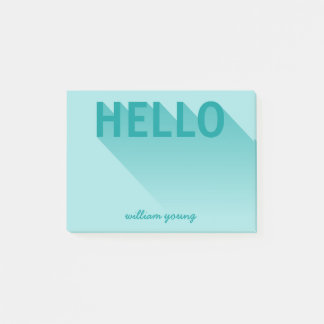 Modern Typography Teal Hello Post-it Notes