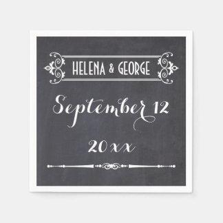Modern typography, vintage chalkboard wedding paper napkin