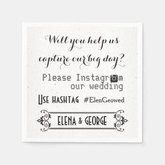 Modern typography with Instagram hashtag wedding Disposable Napkin