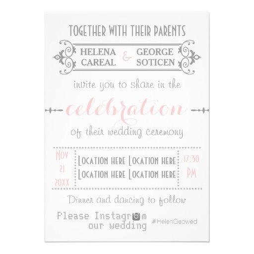 Modern typography with Instagram hashtag wedding Invitation