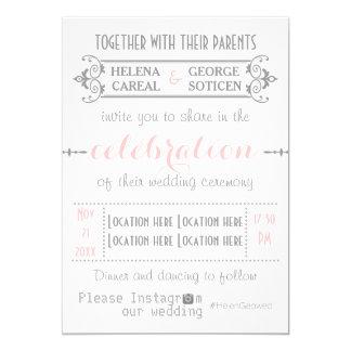 "Modern typography with Instagram hashtag wedding 5"" X 7"" Invitation Card"