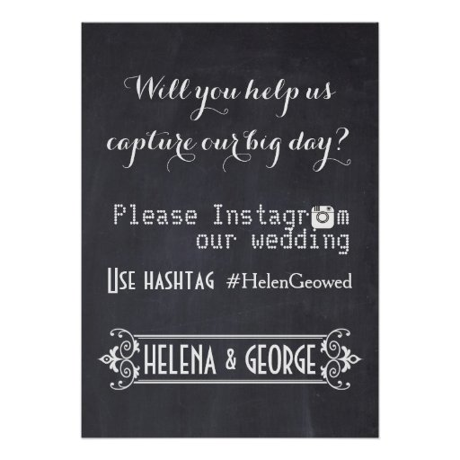 Instagram Wedding Hashtag: Modern Typography With Instagram Hashtag Wedding Poster