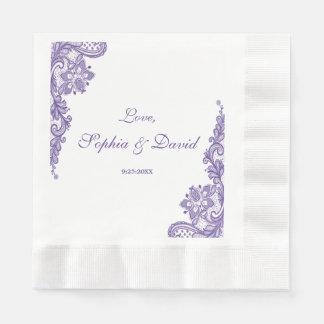 Modern Ultra Violet Lace Wedding Paper Serviettes