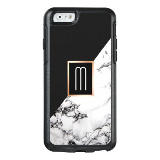 Modern Unique Black White Marble Texture Monogram OtterBox iPhone 6/6s Case