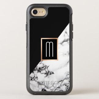 Modern Unique Black White Marble Texture Monogram OtterBox Symmetry iPhone 8/7 Case