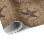 Modern  unique burlap western country texas star gift wrapping paper