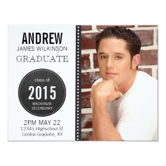 Modern Unisex Chalkboard Graduation 4.25x5.5 Paper Invitation Card
