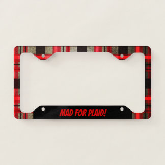 Modern Urban Retro Plaid Tartan Black Red Licence Plate Frame