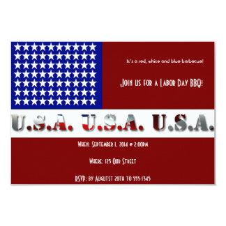 Modern USA Flag Graphic Labor Day Invite