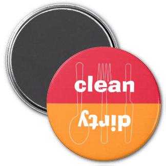 Modern utensil dirty clean red orange dishwasher 7.5 cm round magnet