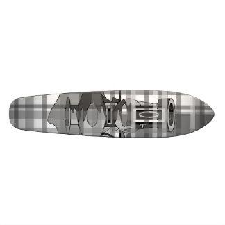 Modern vases in black gray and white plaid skate deck