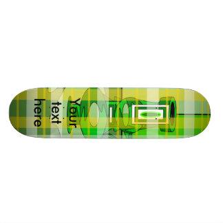 Modern vases in green yellow plaid skate board decks