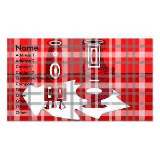 Modern vases in red plaid business card
