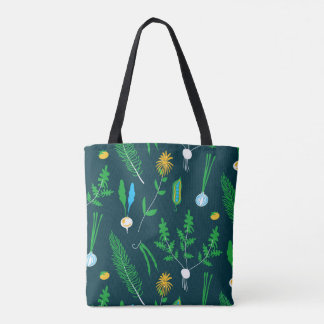 Modern Veggies tote all over recipes print