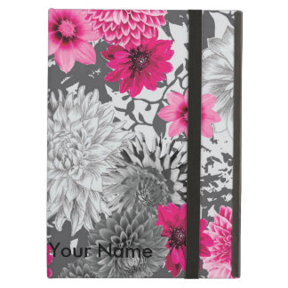 Modern vibrant pick and grey floral design cover for iPad air