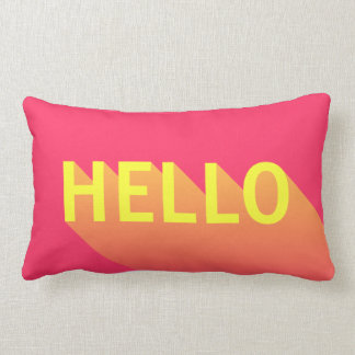 Modern Vibrant Pink and Yellow Hello Typography Lumbar Pillow