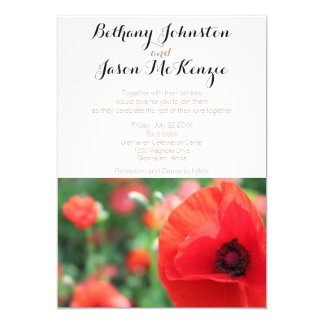 Modern Vibrant Red Poppy Invite
