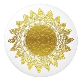 Modern Victorian Gold Foil Look Crochet Lace Doily Ceramic Knob