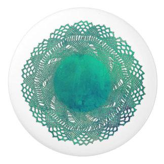 Modern Victorian Teal Crochet Lace Doily Ceramic Knob