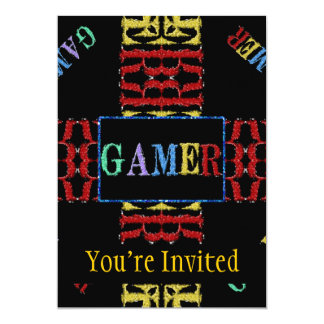 "Modern Video Gamer Mosaic 5"" X 7"" Invitation Card"