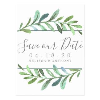 Modern Vines Botanical Wedding Save the Date Postcard