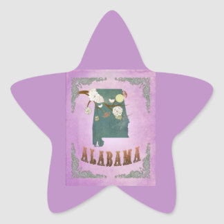 Modern Vintage Alabama State Map- Grape Purple Star Sticker