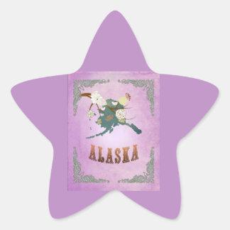 Modern Vintage Alaska State Map- Sweet Lavender Sticker