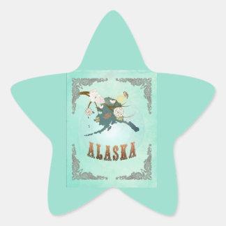 Modern Vintage Alaska State Map – Turquoise Blue Star Sticker