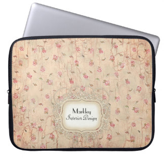 Modern Vintage Art Roses Tea Stained Aged Crackle Computer Sleeves