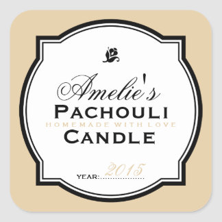 MODERN VINTAGE BEIGE | PERSONALIZED SOAP CANDLE SQUARE STICKER