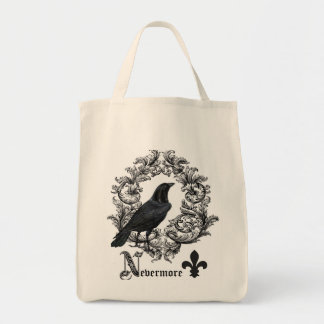 modern vintage black halloween crow canvas bags