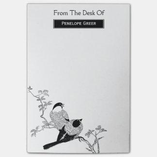 Modern Vintage Black & White Birds on Branch Post-it Notes