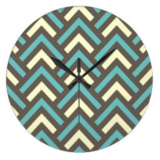 Modern Vintage Blue Cream Chevron Abstract Pattern Clock