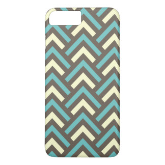 Modern Vintage Blue Cream Chevron Abstract Pattern iPhone 7 Plus Case