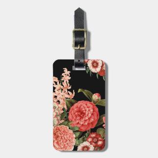 modern vintage botanical pink flowers luggage tag