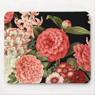 modern vintage botanical pink flowers mouse pad
